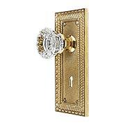 Pisano Design Mortise-Lock Set with Fluted Crystal Glass Knobs (item #R-01MG-PSN-C-MX)