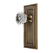 Pisano-Design Door Set with Fluted Crystal Glass Knobs in Antique-By-Hand (item #R-01MG-PSN-C-T-ABHX)