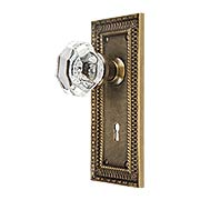 Pisano Design Mortise-Lock Set with Octagonal Crystal Glass Knobs in Antique-By-Hand (item #R-01MG-PSN-W-M-ABH)
