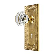 Pisano Design Mortise-Lock Set with Octagonal Crystal Glass Knobs (item #R-01MG-PSN-W-MX)