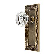 Pisano-Design Door Set with Octagonal Crystal Glass Door Knobs in Antique-By-Hand (item #R-01MG-PSN-W-T-ABHX)