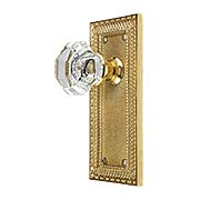 Pisano-Design Door Set with Octagonal Crystal Glass Door Knobs (item #R-01MG-PSN-W-TX)