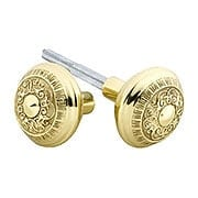 Pair of Egg & Dart Design Door Knobs In Solid Brass (item #R-01NW-701009X)
