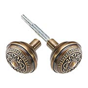 Egg & Dart Design Door Knobs in Antique-By-Hand - 1 Pair (item #R-01NW-712725-ABH)
