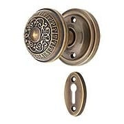 Classic Rosette Mortise-Lock Set with Egg & Dart Knobs in Antique-By-Hand (item #R-01NW-716862-ABH)