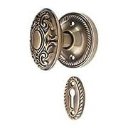 Rope Rosette Mortise Lock Set with Decorative Oval Knobs in Antique-By-Hand (item #R-01NW-716918-ABH)