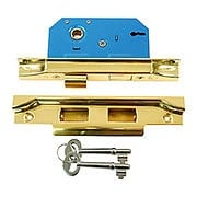 Brass Rebated Mortise Lock with Narrow Back Set (item #R-01SB-9047X)