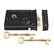 Cast Iron Horizontal Rim Lock With Black Powder-Coated Finish (item #R-01SE-1023)