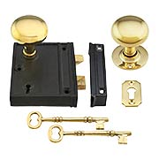 Vertical Rim-Lock Set with Small Unlaquered Brass Knobs (item #R-01SE-1023V-153UL)