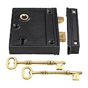 Cast Iron Vertical Rim Lock With Black Powder-Coated Finish (item #R-01SE-1023V)