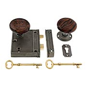 Antique Iron Vertical Rim Lock Set With Bennington Style Porcelain Door Knobs (item #R-01SE-SBN-1023V-AI)