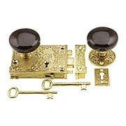 Solid Brass Century Rim Lock Set With Brown Swirl Porcelain Knobs (item #R-01VH-SBN-1032-PB)