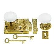 Solid Brass Century Rim Lock Set  With White Porcelain Knobs (item #R-01VH-WHI-1032-PB)