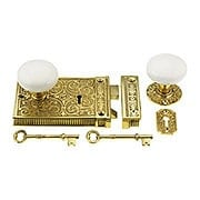 Solid Brass Scroll Rim Lock With White Porcelain Knobs (item #R-01VH-WHI-1033-PB)