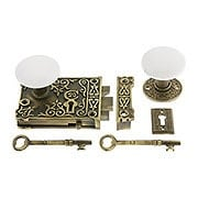 Antique Brass Century Rim Lock Set  With White Porcelain Knobs (item #R-01VH-WHT-1032-AB)