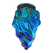 Peacock Blue Iridescent Glass Flame Shade  - 3 1/4 Inch Fitter (item #R-03PB-08909)