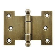 Solid-Brass Parliament Hinge with Ball Tips in Antique-By-Hand - 2 1/2-Inch by 3 1/2-Inch (item #R-04BM-8819-ABH)