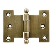 Solid-Brass Parliament Hinge with Ball Tips in Antique-By-Hand - 2 1/2-Inch by 4 1/2-Inch (item #R-04BM-8821-ABH)