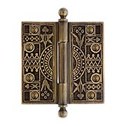 4-Inch Solid Brass Eastlake Ball Tip Hinge In Antique-By-Hand Finish (item #R-04DE-109-ABH)