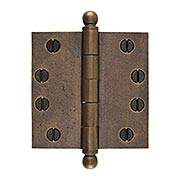4-Inch Distressed Solid-Bronze Door Hinge with Ball Finials (item #R-04DE-304X)