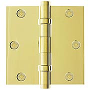 "3 1/2"" Solid Brass Ball Bearing Door Hinge With Button Tips (item #R-04EM-96413X)"