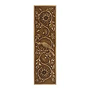 Tropical Parrot Push Plate In Antique-By-Hand Finish (item #R-05MG-PP-PRT-ABH)