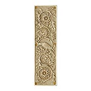 Tropical Parrot Push Plate In Solid, Cast Brass (item #R-05MG-PP-PRT-PB)