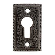 Cast-Iron Rectangular Ornate Keyhole Cover (item #R-06DE-C1031-OKHX)