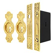 Oriental Bit-Key Single Pocket Door Mortise-Lock Set in Unlacquered Brass (item #R-06HH-524SET-UL)
