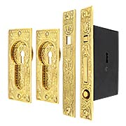 Broken Leaf Bit-Key Single Pocket Door Mortise-Lock Set in Unlacquered Brass (item #R-06HH-537SET-UL)