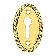 Oval Vertical Rope-Pattern Brass Keyhole Cover - 1 7/8 x 1 1/8