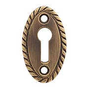 Oval Vertical Rope-Pattern Brass Keyhole Cover in Antique-By-Hand - 1 7/8