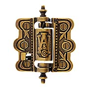 Decorative Cast Brass Screen Door Hinge In Antique-By-Hand (item #R-06SE-0700477-ABH)