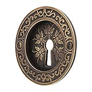Bee Design Pocket-Door Pull with Keyhole in Antique-by-Hand (item #R-06SE-2030554KH-ABH)