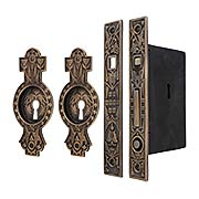 Hummingbird Bit-Key Single Pocket Door Mortise-Lock Set with Hummingbird Pulls in Antique-by-Hand (item #R-06SE-528SET-ABH)