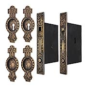 Hummingbird Bit-Key Double Pocket Door Mortise-Lock Set with Hummingbird Pulls in Antique-by-Hand (item #R-06SE-529SET-ABH)