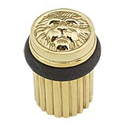 Brass Lion Head Floor-Mount Door Stop (item #R-06SE-965850X)