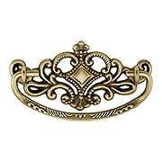 "Victorian-Style Crown Brass Bail Pull in Antique-by-Hand - 3"" Center-to-Center (item #R-08BM-1104-ABH)"