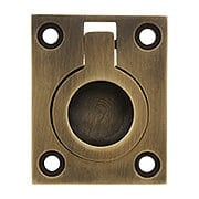 Solid Brass Flush Mount Ring Pull In Antique-By-Hand Finish - 1 7/16