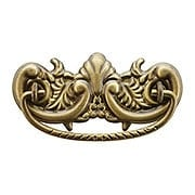 Victorian-Style Ornate Brass Bail Pull in Antique-by-Hand - 3