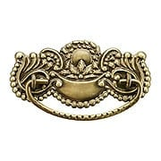 Victorian Style Brass Beaded Bail Pull in Antique-by-Hand - 3