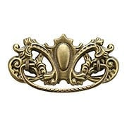 Late Victorian-Style Brass Bail Pull in Antique-by-Hand - 3