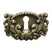 Decorative Stamped Brass Keyhole Cover in Antique-By-Hand Finish (item #R-08BM-1207-ABH)