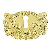 Decorative Stamped Brass Keyhole Cover (item #R-08BM-1207-PB)