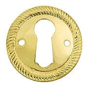 Stamped Brass Round Keyhole Cover with Rope Design (item #R-08BM-1209X)