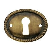 Oval Horizontal Rope-Pattern Brass Keyhole Cover in Antique-By-Hand - 1 1/8