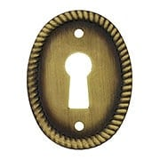 Oval Vertical Rope-Pattern Keyhole Cover in Antique-By-Hand - 1 1/8