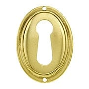 Vertical Oval Stamped-Brass Keyhole Cover (item #R-08BM-1220-PB)