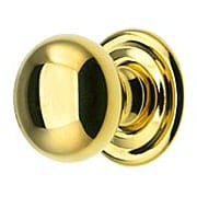Small Brass Cabinet Knob With Rosette - 3/4