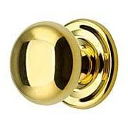 Round Brass Cabinet Knob With Rosette - 1 1/4
